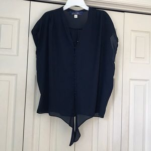 Francesca's Dark Blue Short Sleeve Dress Shirt